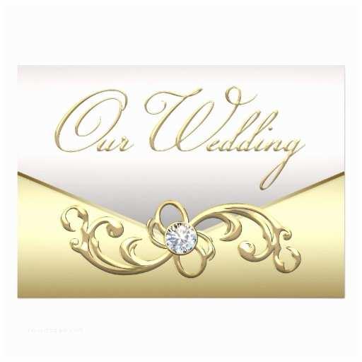 "Elegant Silver Wedding Invitations Elegant Diamond Silver and Gold Wedding Invitation 5"" X 7"