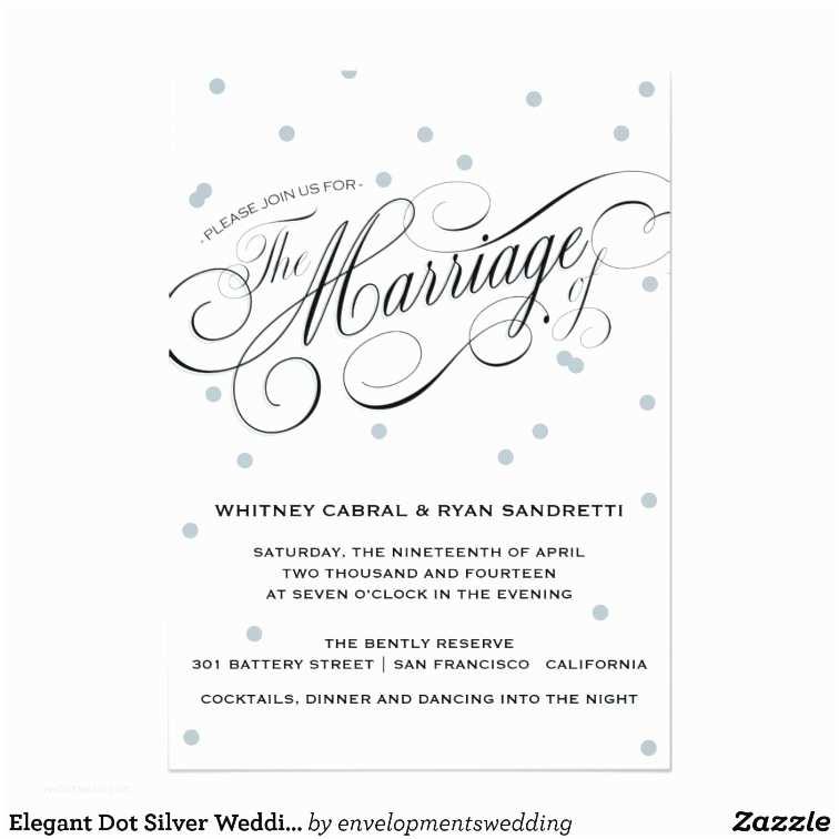 Elegant Silver Wedding Invitations Elegant Dot Silver Wedding Invitation
