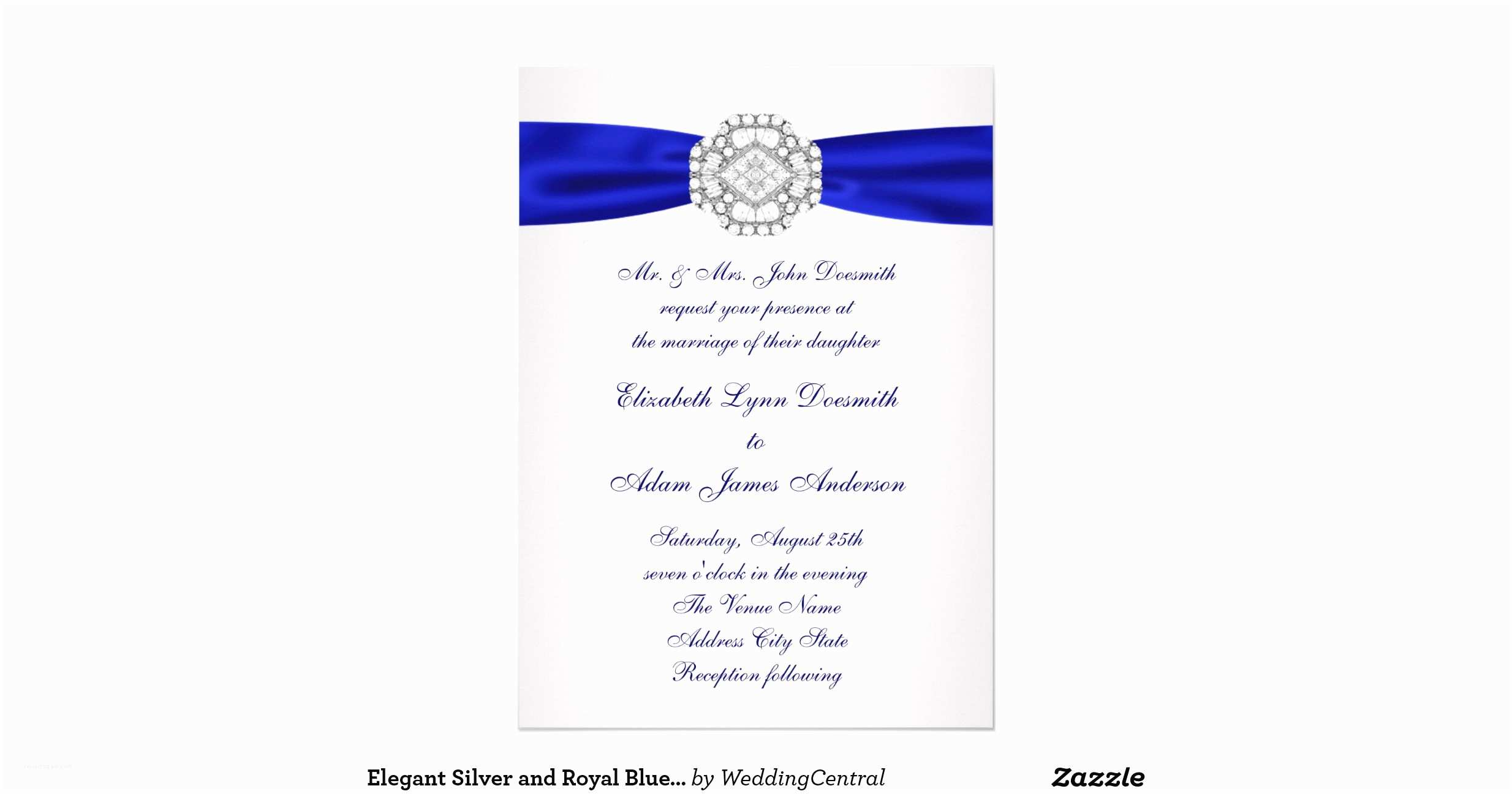 Elegant Silver Wedding Invitations Elegant Silver and Royal Blue Wedding Invitations