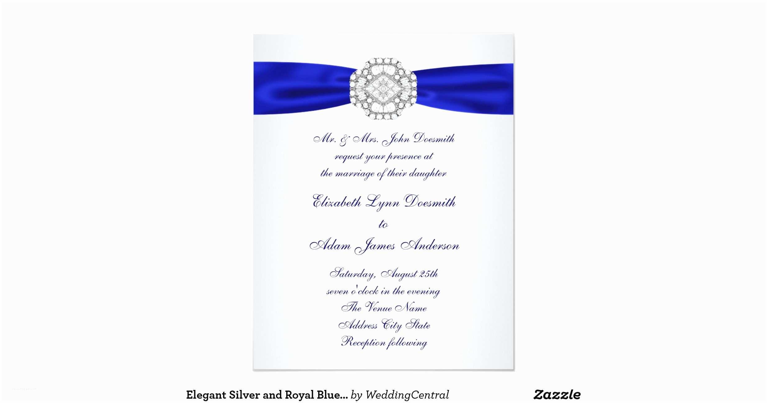 Elegant Silver Wedding Invitations Elegant Silver and Royal Blue Wedding Invitations