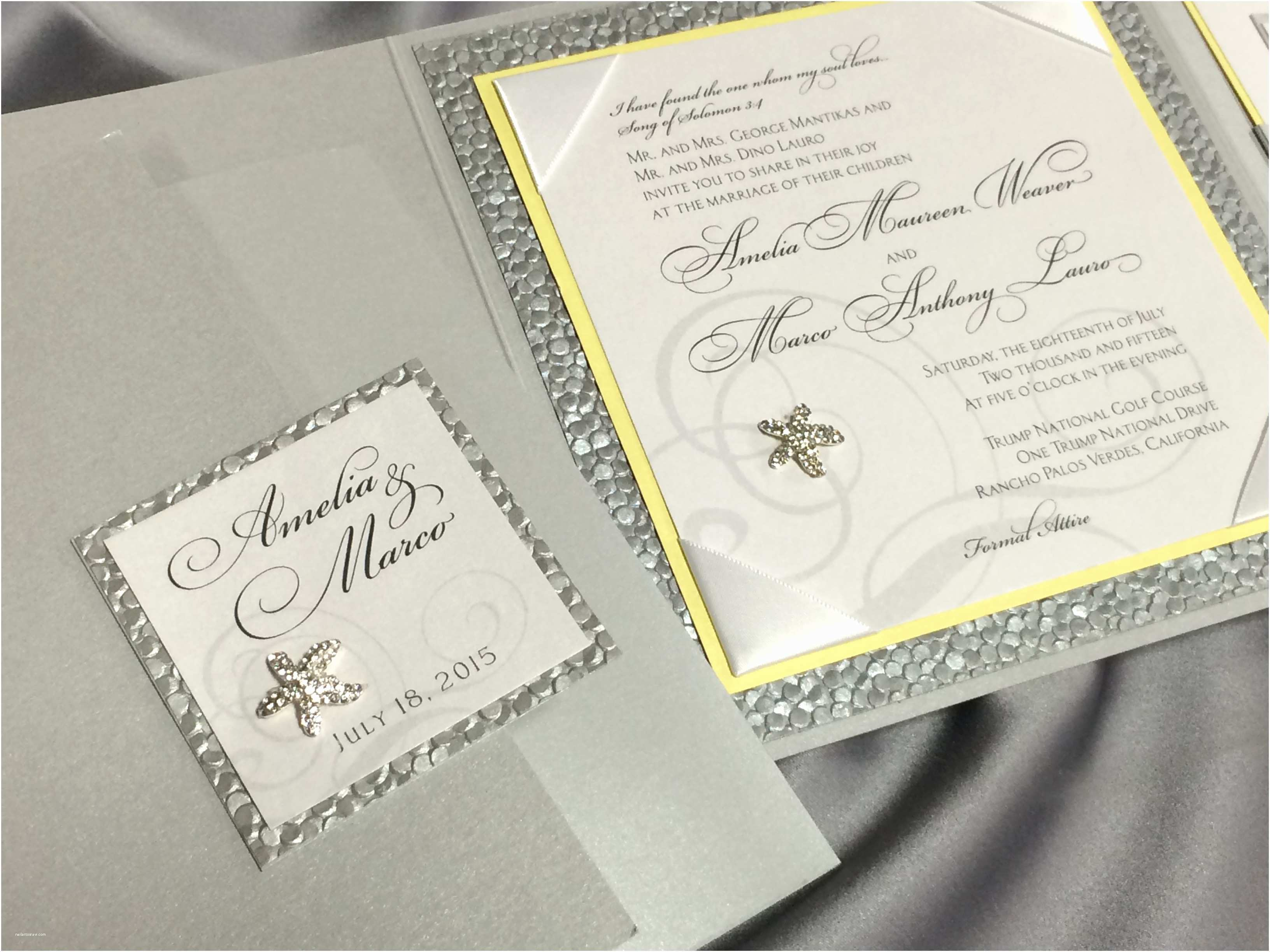 Elegant Silver Wedding Invitations Elegant Silver and Yellow Beach themed Wedding Invitation