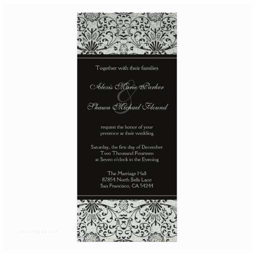 Elegant Silver Wedding Invitations Elegant Silver Black Damask Wedding Invitation