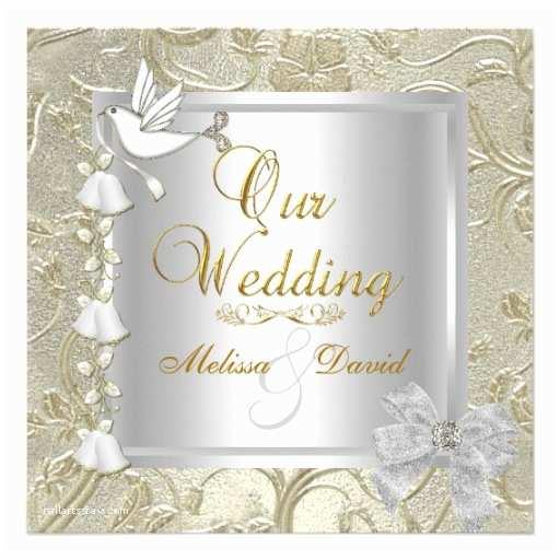 Elegant Silver Wedding Invitations Elegant Wedding Gold Silver White Dove Damask 5 25x5 25