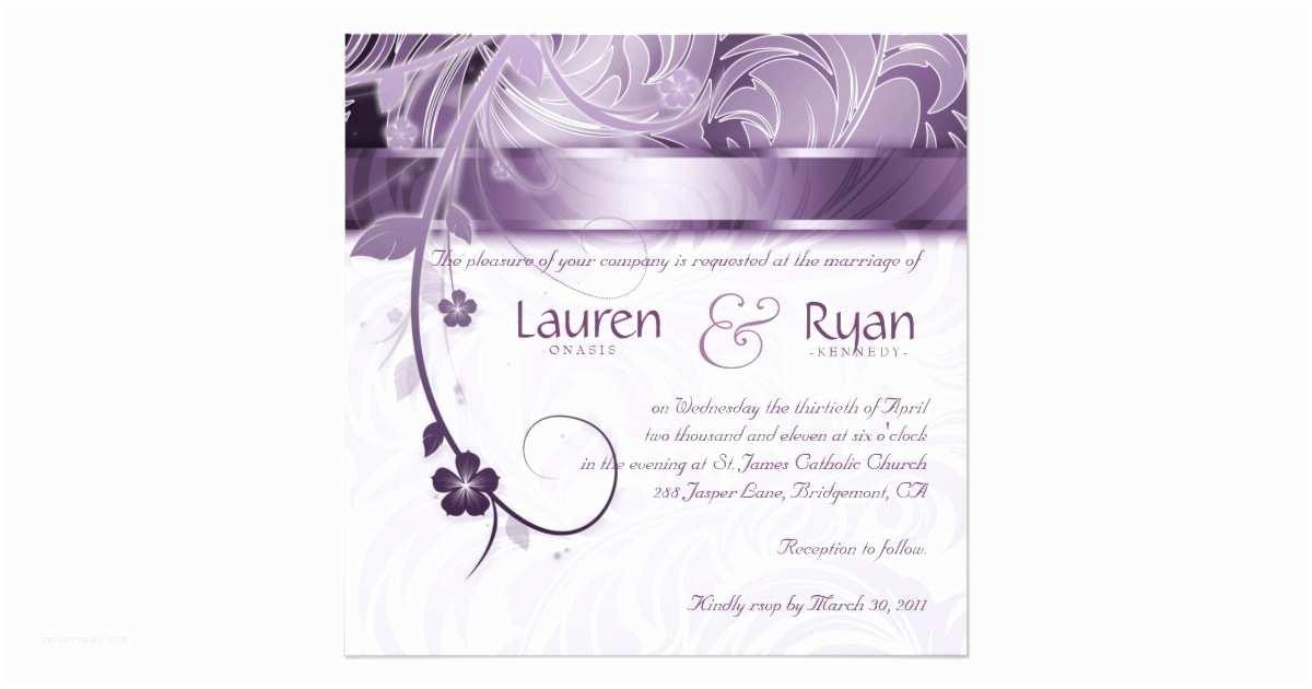 Elegant Silver Wedding Invitations Elegant Wedding Invitation Floral Purple Silver