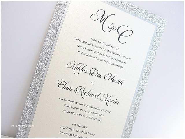 Elegant Silver Wedding Invitations Glitter Wedding Invitation