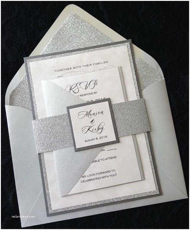 Elegant Silver Wedding Invitations Glitter Wedding Invitation Silver Glitter Wedding