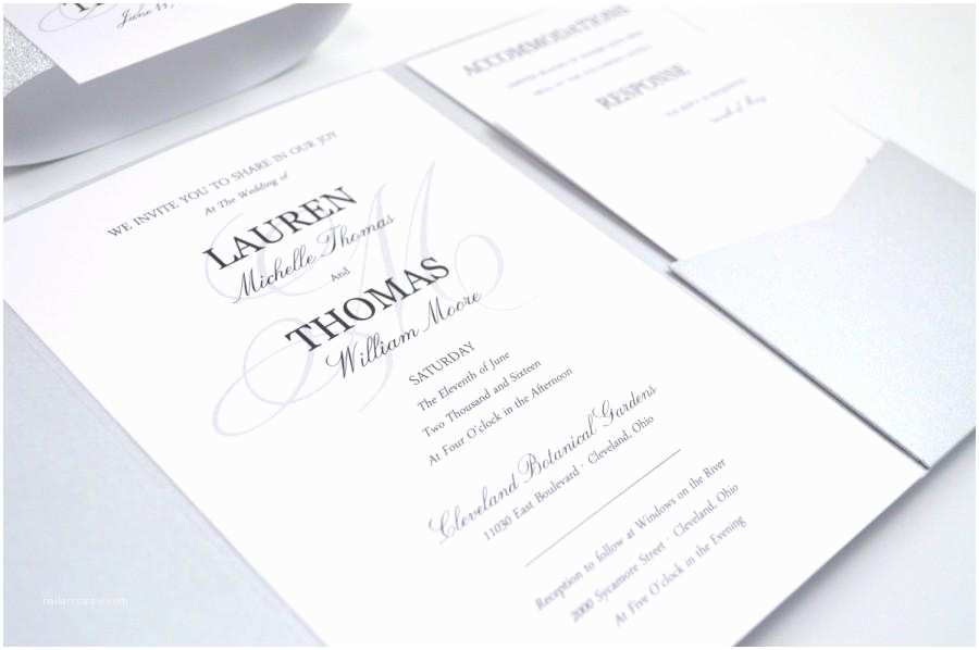 Elegant Silver Wedding Invitations Glitter Wedding Invitations Pocketfold Silver Elegant