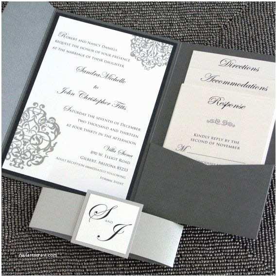 Elegant Silver Wedding Invitations Metallic Pocketfold Wedding Invitation Black and Silver