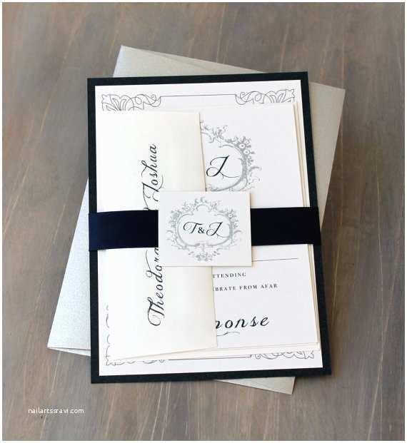 Elegant Silver Wedding Invitations Navy Monogram Wedding Invitations Modern Wedding