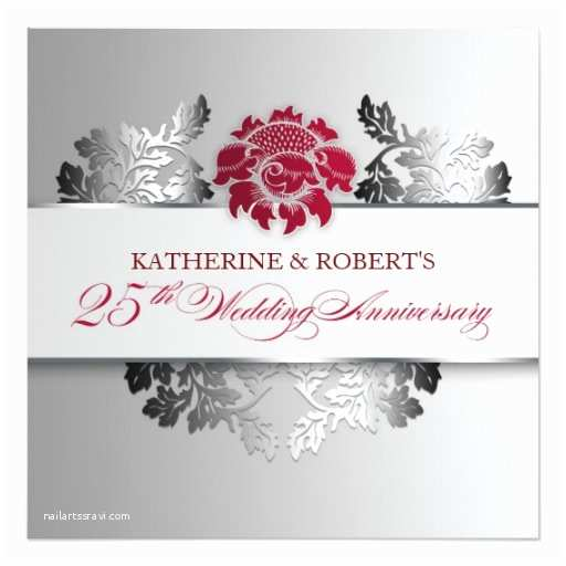 Elegant Silver Wedding Invitations Silver 25th Wedding Anniversary Elegant Invitation