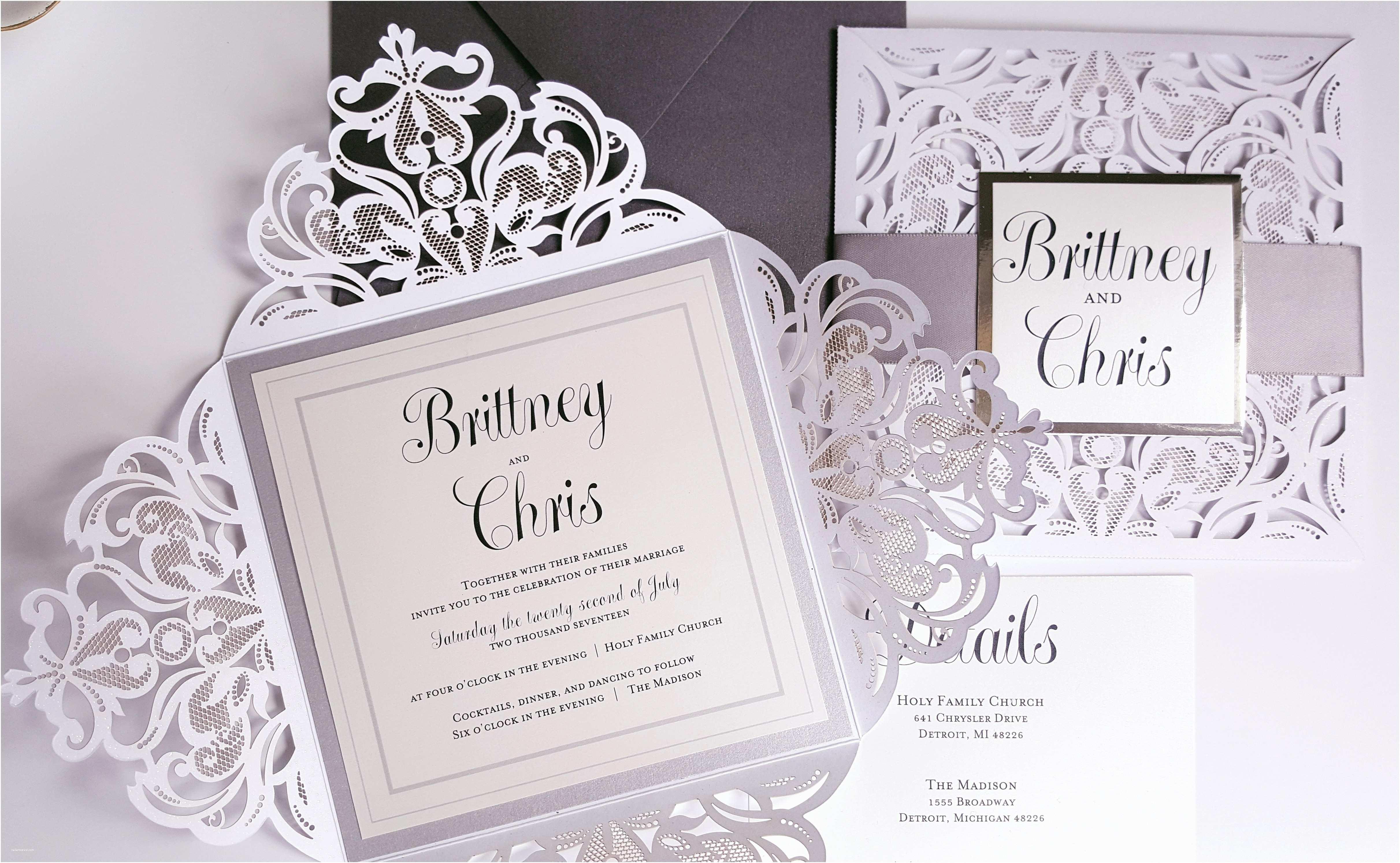 Elegant Silver Wedding Invitations Silver Elegant Wedding Invitations