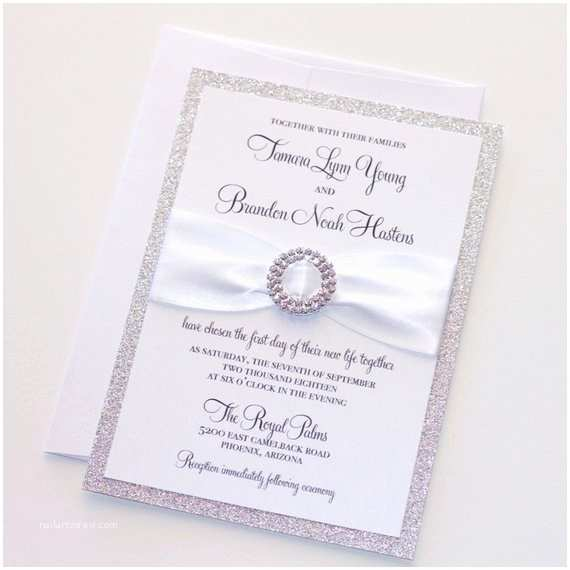 Elegant Silver Wedding Invitations Silver Glitter Wedding Invitation Elegant Wedding Invitation