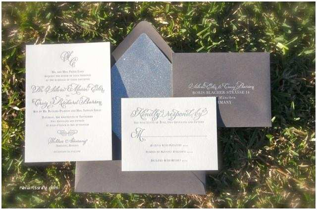 Elegant Silver Wedding Invitations Simple and Elegant Letterpress Wedding Invitations Silver