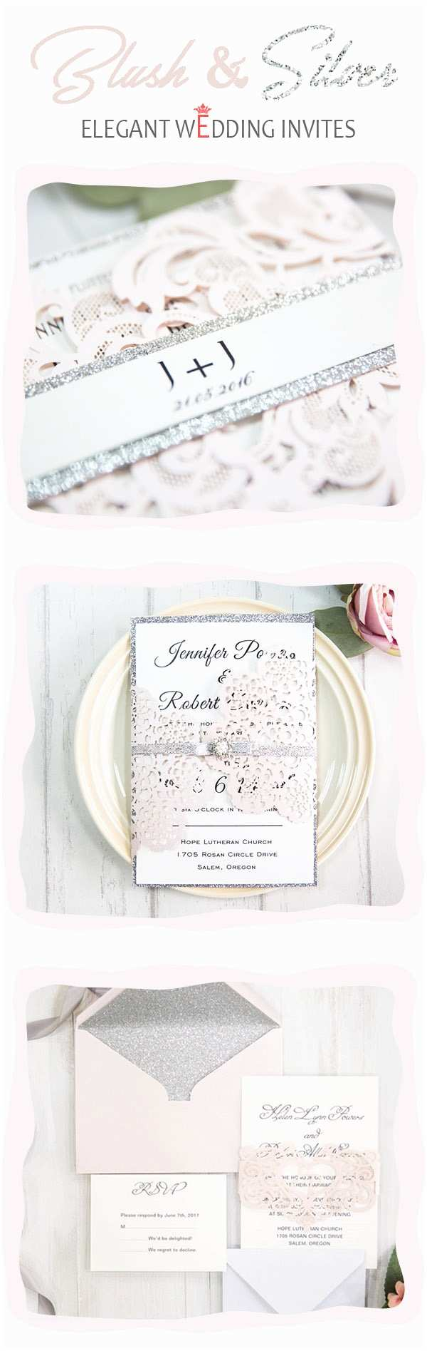 Elegant Silver Wedding Invitations Stunning Pink Wedding Ideas and Invitations with Gold