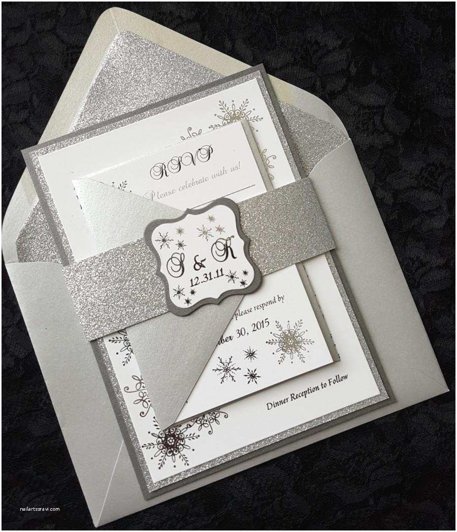 Elegant Silver Wedding Invitations Winter Wonderland Foil Invitation Silver Foil Wedding