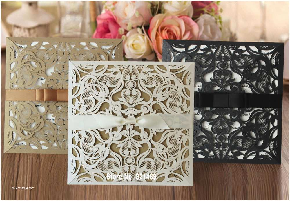 Elegant Wedding Invitation Sets Aliexpress Buy Elegant Wedding Invitation Laser Cut