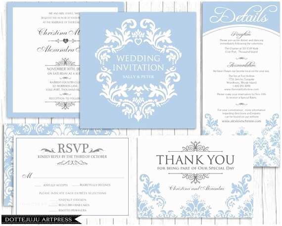Elegant Wedding Invitation Sets Damask Elegant Square Printable Wedding Invitation Set