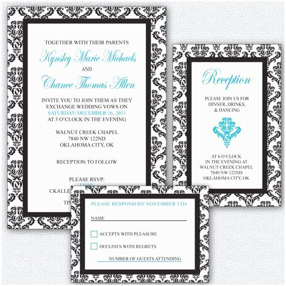 Elegant Wedding Invitation Sets Elegant Black and White Wedding Invitation Set Print at