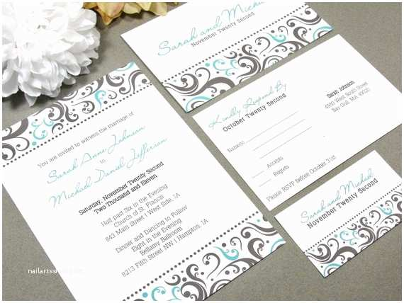 Elegant Wedding Invitation Sets Elegant Dot Swirl Wedding Invitation Set by by Runkpockdesigns