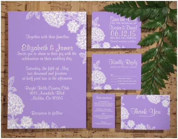 Elegant Wedding Invitation Sets Elegant Lavender Wedding Invitation Set Suite by