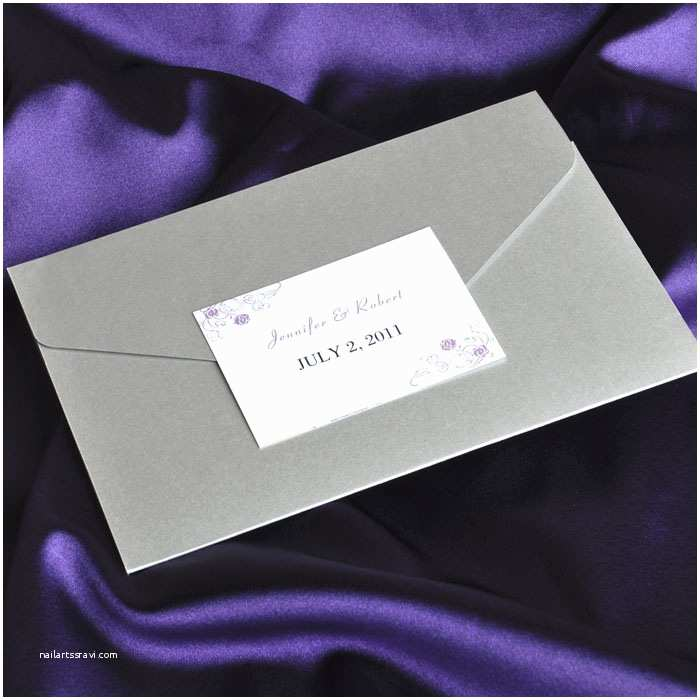 Elegant Wedding Invitation Sets Elegant Purple and Gray Pocket Wedding Invitation Cards