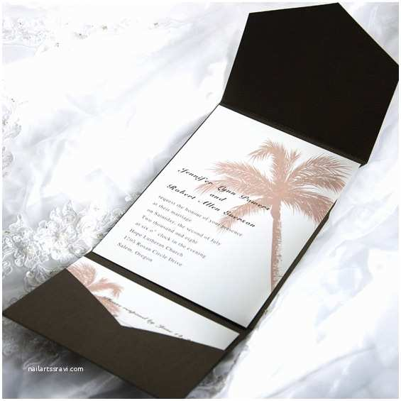 Elegant Wedding Invitation Sets Elegant Tropical Pocket Wedding Invitation Sets Ewpi005 as