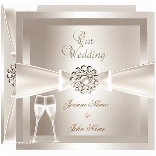 Elegant Wedding Invitation Sets Elegant Wedding Damask Cream White Champagne Card