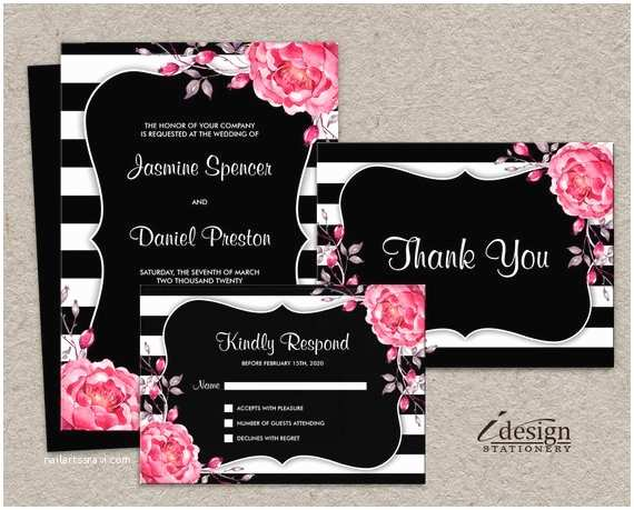Elegant Wedding Invitation Sets Elegant Wedding Invitation Sets Printable Floral Black and