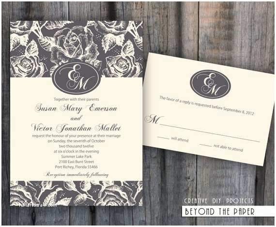 Elegant Wedding Invitation Sets Items Similar to Printable Elegant and Floral Template