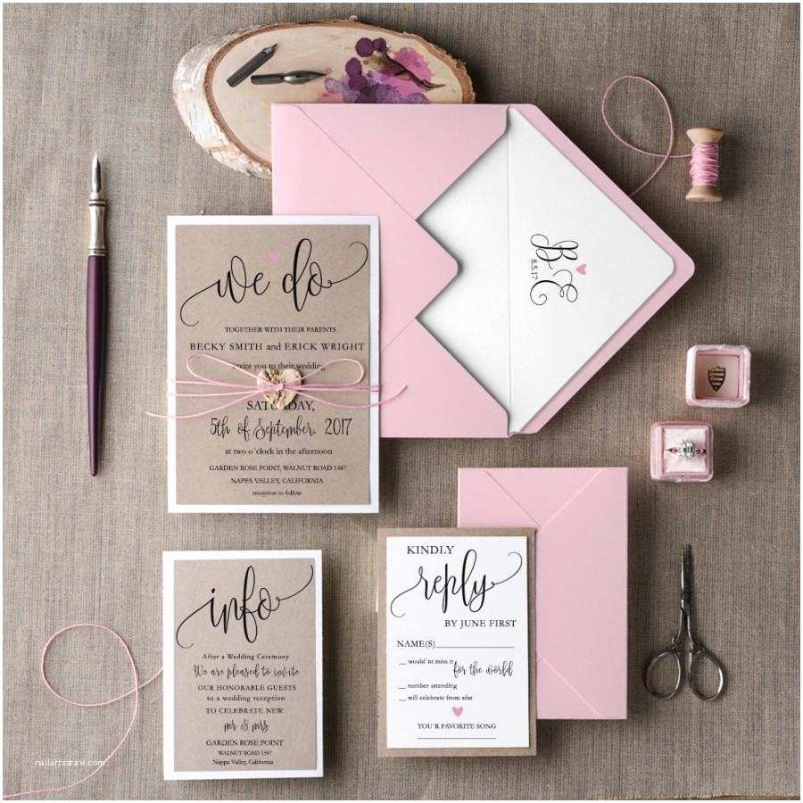Elegant Wedding Invitation Sets Rustic Wedding Invitation Set 20 Wedding Invitation
