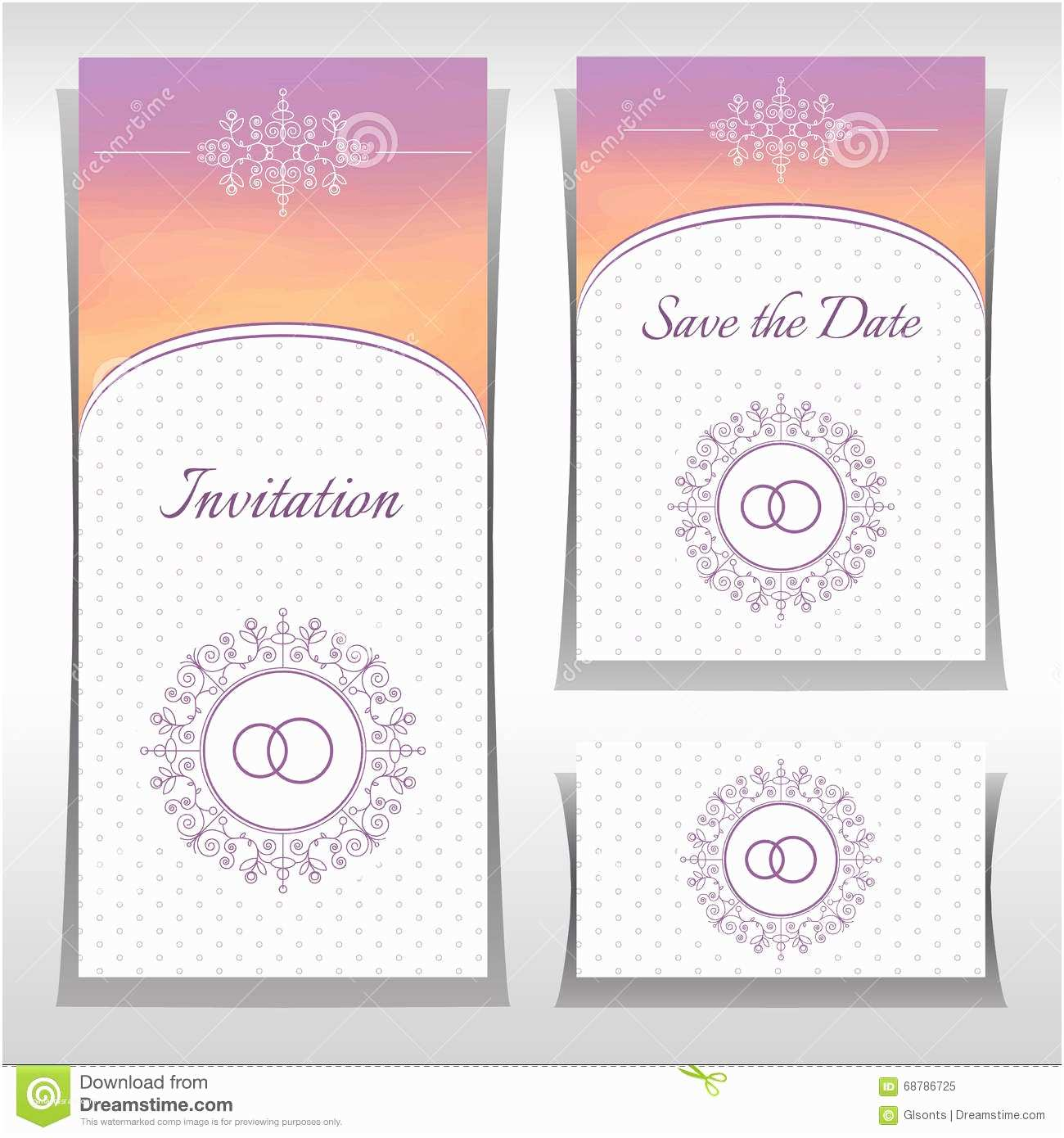 Elegant Wedding Invitation Sets Set Wedding Invitation Templates with Elegant ornament