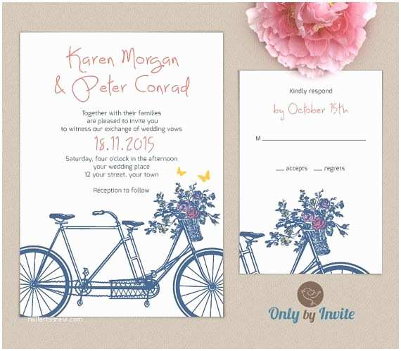 Elegant Wedding Invitation Sets Tandem Bicycle Wedding Invitation Set Personalized