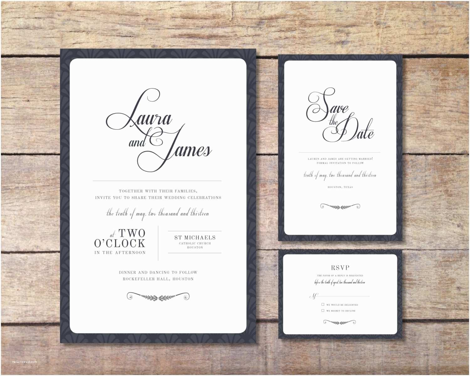 Elegant Wedding Invitation Sets Wedding Invitation Set – Elegant Design – Printable