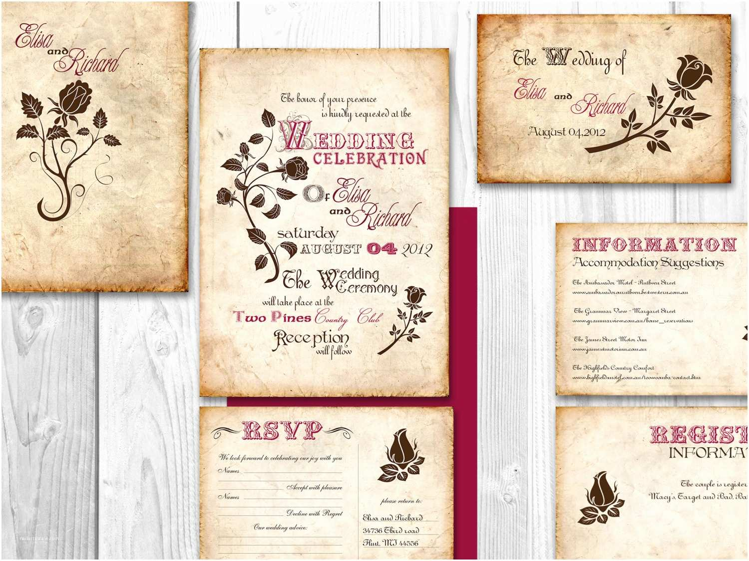 Elegant Wedding Invitation Sets Wedding Invitation Set Template