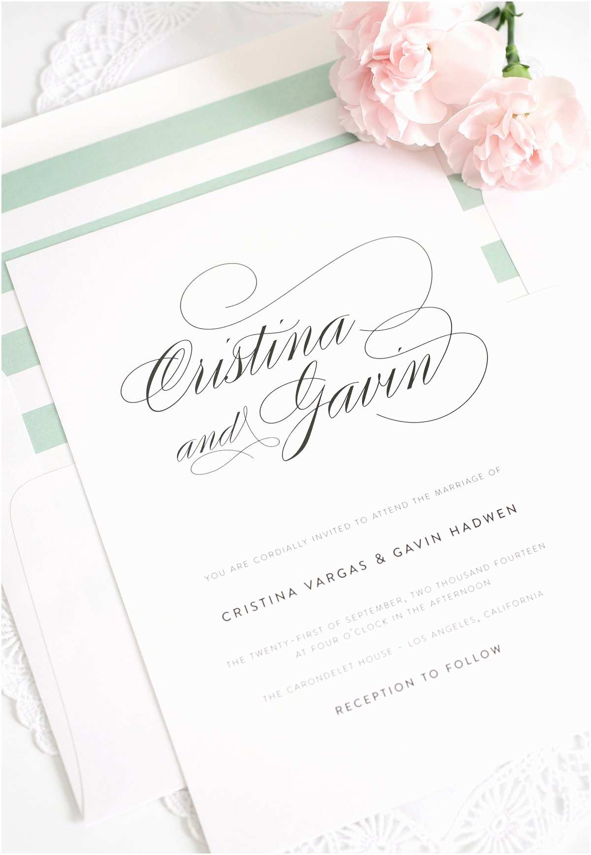 Elegant Wedding Invitation Wording Elegant Wedding Invitations In soft Jade – Wedding Invitations