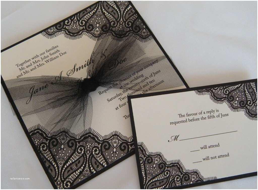 Elegant Wedding Invitations Elegant Black Ivory Wedding Invitation Tulle Bow