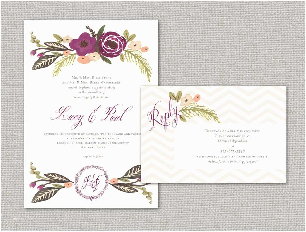 Elegant Wedding Invitations Elegant Wedding Invitations with Florals Chevron