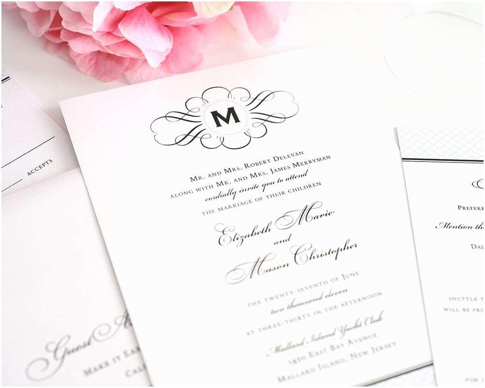 Elegant Wedding Invitations Vintage Wedding Invitations with Monogram and Blue