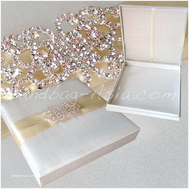 Elegant Wedding Invitations with Crystals Wedding Invitation Box White Elegant Box and Gold Ribbon