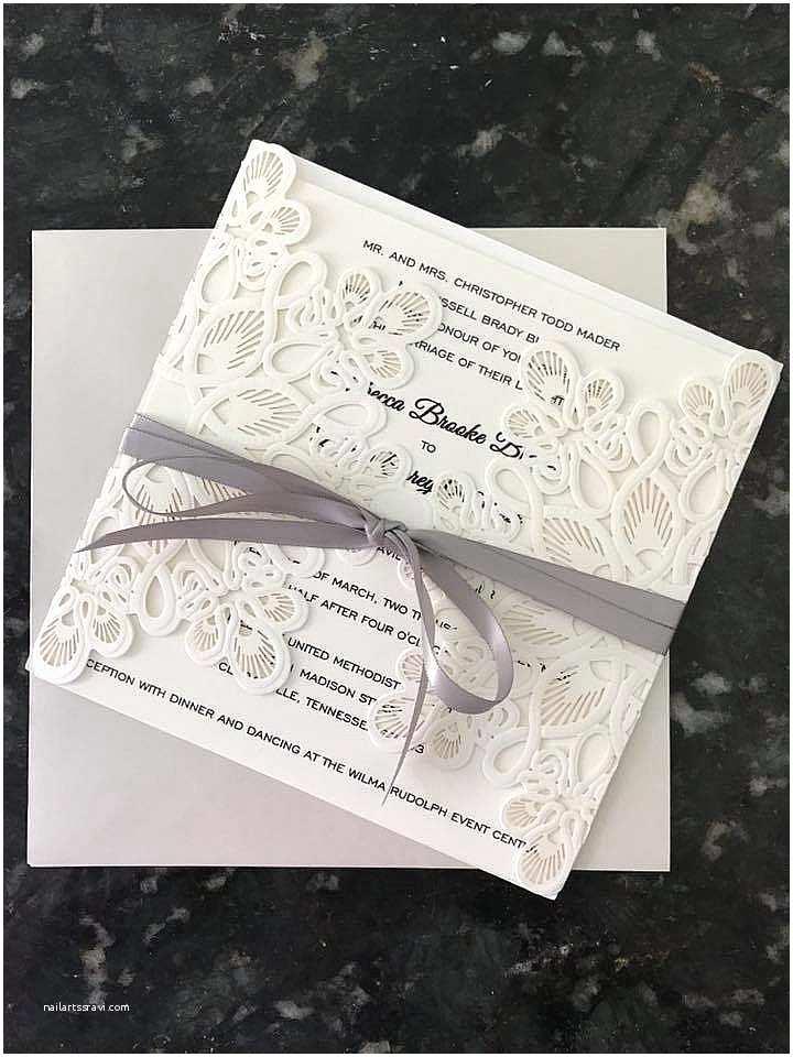 Elegant Wedding Invites Reviews Affordable Exquisite Laser Cut Grey Ribbon Wedding