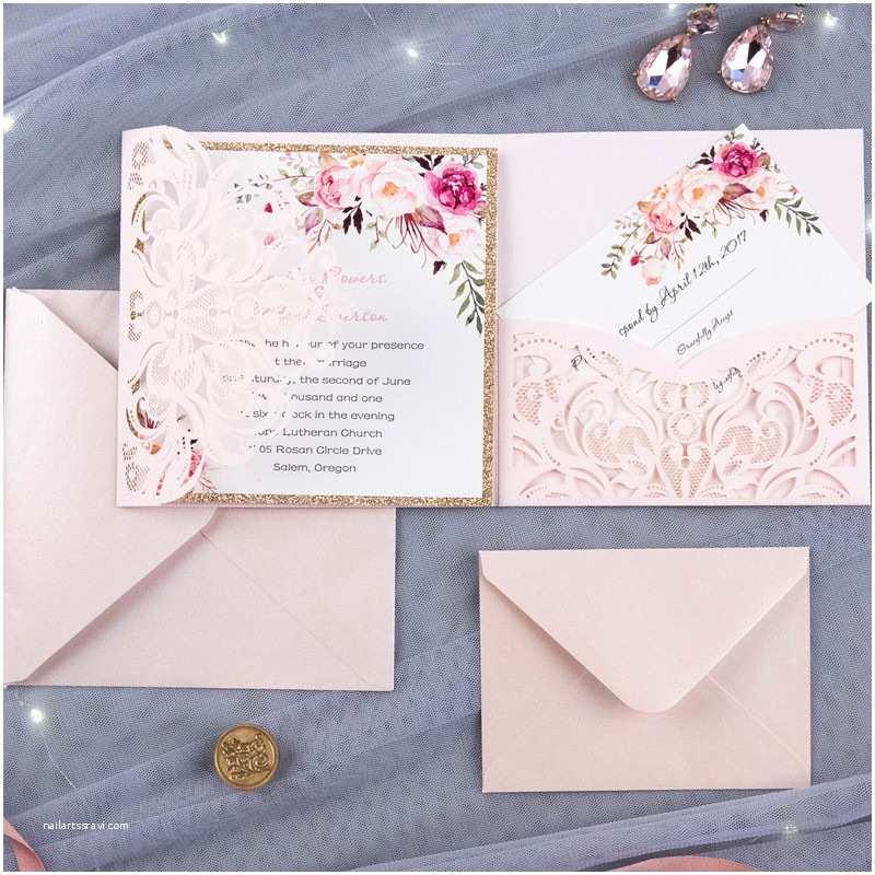 Elegant Wedding Invites Reviews Bohemian Floral Glittery Laser Cut Wedding Invitation