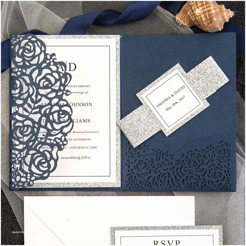 Elegant Wedding Invites Reviews Elegant Navy Blue Rose Laser Cut Pocket Wedding