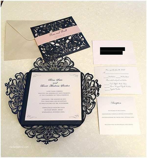 Elegant Wedding Invites Reviews Navy Blue Laser Cut Wedding Invitation with Blush Pink