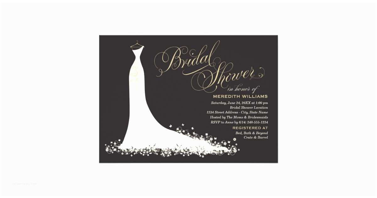 Elegant Wedding Shower Invitations Bridal Shower Invitation Elegant Wedding Gown