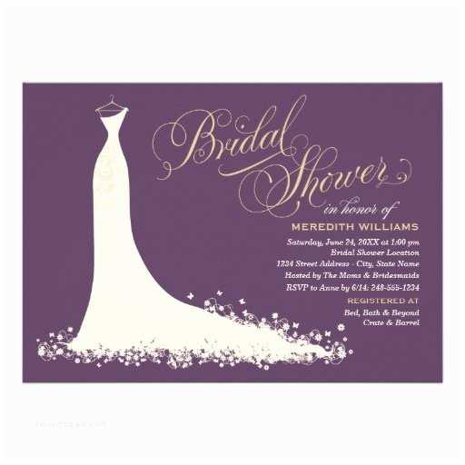 Elegant Wedding Shower Invitations Bridal Shower Invitation Elegant Wedding Gown