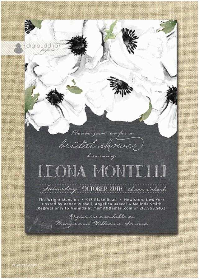 Elegant Wedding Shower Invitations Chalkboard Floral Bridal Shower Invitation Black & White