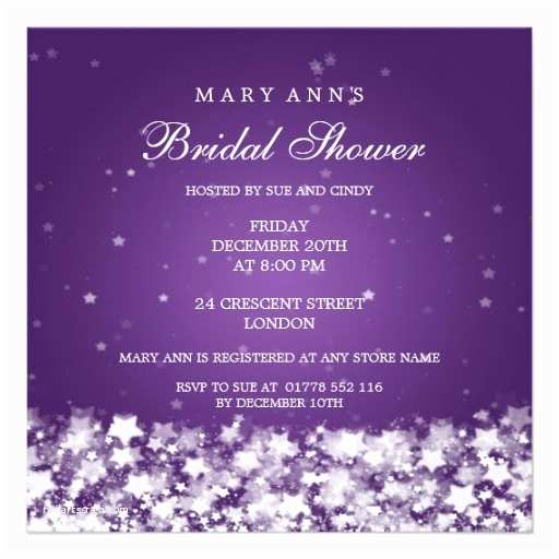 Elegant Wedding Shower Invitations Elegant Bridal Shower Dazzling Stars Purple Invitations