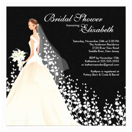 Elegant Wedding Shower Invitations Elegant Bride Bridal Shower Invitation Black White