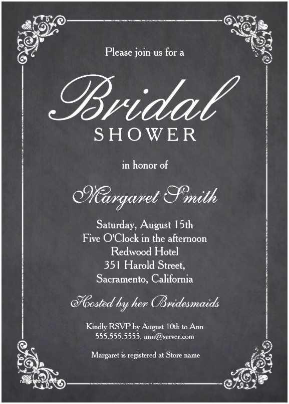 Elegant Wedding Shower Invitations Elegant Chalkboard Bridal Shower Invitation Template Line
