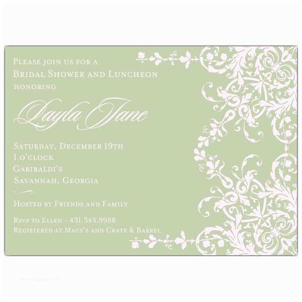Elegant Wedding Shower Invitations Elegant Garland Pink and Sage Bridal Shower Invitations